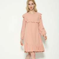 Pink Long Sleeve Cuffle Trim Short Dress