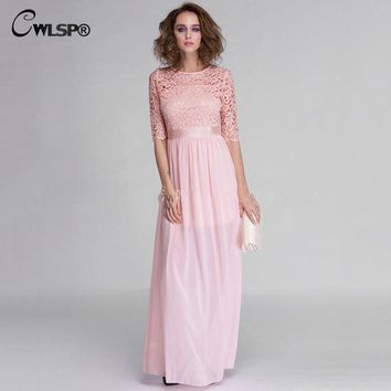 DCCKWQA Hot Sale Women Elegant Lace Long Maxi Dresses Hollow Out Chiffon Half sleeve Evening Wedding Party Dress Plus size 3XL QZ609