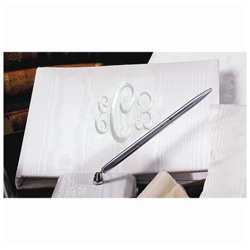 Ivory or White Moire Monogram Guest Book