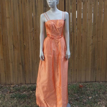 50s Dress / 50s Orange Evening Gown / 50s Evening Dress / 1950s Prom Dress / Orange Taffeta / Spaghetti Straps