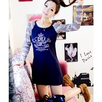 Scoop Long Sleeve Straight T-shirt Women Autumn Dark Blue Cotton One Size @WH0358dbl $8.99 only in eFexcity.com.