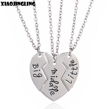 "XIAOJINGLING 3Pcs/Sets Broken Heart Alloy Necklace ""Big Middle Little"" Long Chain Necklace Sisters/Brothers/Best Friends Gifts"