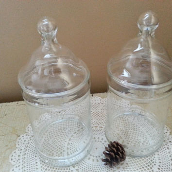Pair Clear Vintage Glass Apothecary Jars Druggist Pharmacy