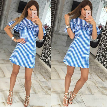 Plaid Pattern Cut-Out Shoulder Ruffle Mini Dress