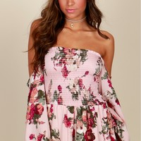 Everybody's Feeling Floral Romper Peach