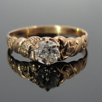 Rose Gold and Diamond Antique Victorian Engagement Ring RGDI289D