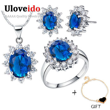 Uloveido Created Sapphire Wedding Bridal Jewelry Sets 925 Sterling Silver Flower Necklace Earrings Ring Costume Women Set T466