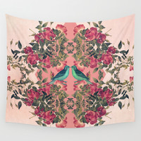 Love Birds II (pink edition) Wall Tapestry by Sandra Arduini