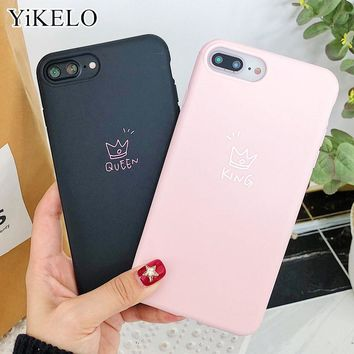 YiKELO Cartoon Crown Case For iPhone X 6 6s 7 8 Plus Cute Letter KING QUEEN Soft TPU Rubber Silicon Cases Back Cover for iPhone6