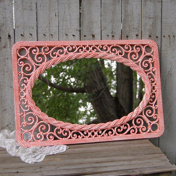 Shabby Chic Mirror, Coral, White, Upcycled Vintage, Ornate, Syroco, Wicker, Beach Decor, Wedding Decor, Homco