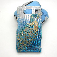 Handmade hard case for Verizon Motorola Droid Rrazr Maxx HD: Bling Peacock (custom order are welcome)