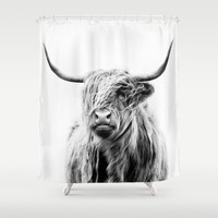 portrait of a highland cow Shower Curtain by Dorit Fuhg
