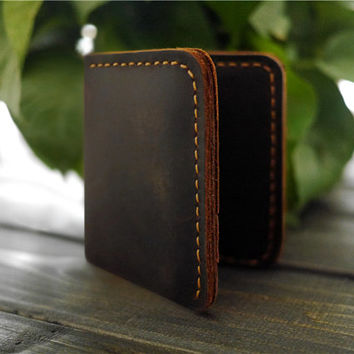Personalized Men's Leather Bifold Wallet/Minimalist Wallet /credit card wallet/ Men Engraved Wallet / Slim Wallet/ travel wallet