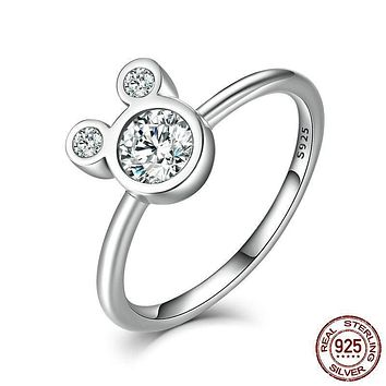 925 Sterling Silver Dazzling Miky Mouse Rings