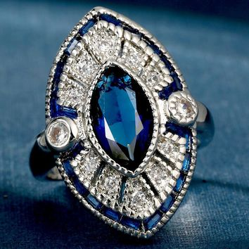 Simulated Blue Topaz Austrian Crystal Statement Ring
