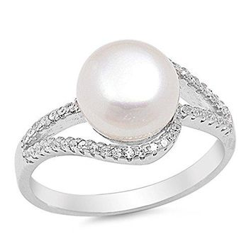 Clear CZ Simulated Pearl Swirl Ring New 925 Sterling Silver Band Sizes 510