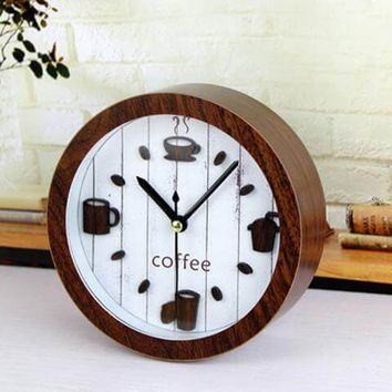 3D Retro Coffee Wood Desk Alarm Clock
