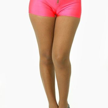 Shiny High Waist Shorts - Hot Pink