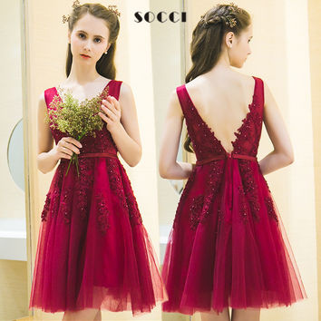 SOCCI Elegant Wine Red V Neck Short Tulle Lace cocktail dress V Back Beading girls Formal Wedding Party Dress Custom made Gowns