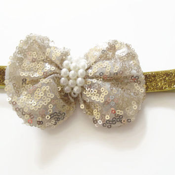 Girls gold glitter sequin bow headband -baby headband,toddler headband, newborn photo prop, party headband,UK seller, christmas headband