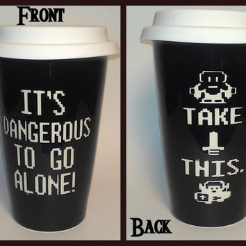 Legend of Zelda It's Dangerous to Go Alone Ceramic Travel Mug - Etched - Black