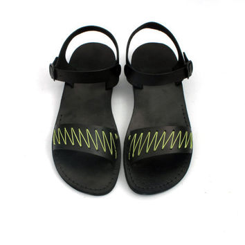 Black Leather Sandals with Lime Green Yarn -  ZigZag Pattern - US Size 8 / 8.5 / 9 / 10 / 11 / 12 EU Size 41 / 42 / 43 / 44 / 45 / 46
