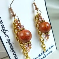 Red Coral Copper and Brass Long Dangle Earrings | dianesdangles - Jewelry on ArtFire