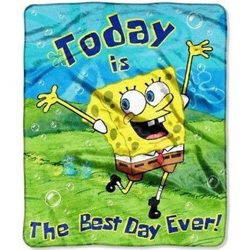 SpongeBob Best Day  46x60 Micro Raschel Throw
