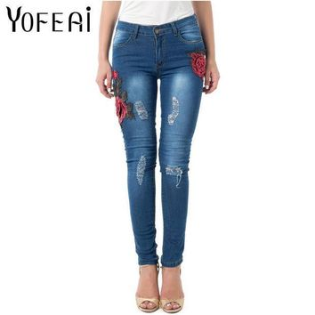 ESBONHS YOFEAI Jeans Women Skinny Elastic Jeans for Women High Waist Vintage Embroider Flowers Jeans Ripped Denim Trousers for Women