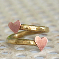 Summer heart ring. OOAK handmade brass ring and two copper tiny hearts. Made to order item.