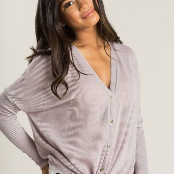 Harper Lavender Knit Button Sweater