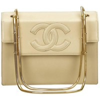 Chanel Beige Snake Chain Leather Shoulder Bag