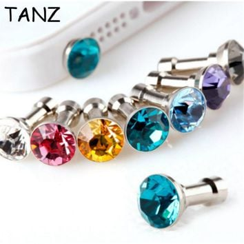 10pcs Bling diamond Dust Plug For HTC For Samsung Galaxy For iphone 6 7 6s plus 5s 4 dust plug 3.5mm earphones phone accessories