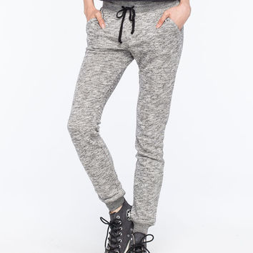 Full Tilt Try Marled Womens Jogger Pants Black/White  In Sizes