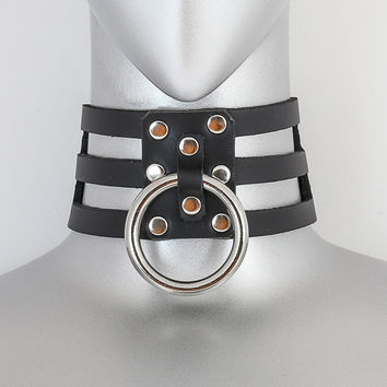 Black Leather 3 Strap Choker Necklace w/ 1 Silver O Ring