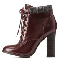 Burgundy Qupid Herringbone-Collared Heeled Combat Booties
