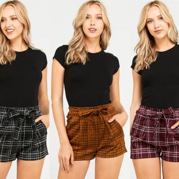 Plaid Shorts with Waist Tie Detail