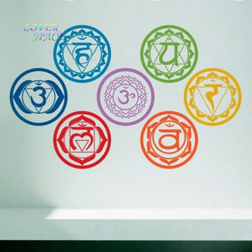 Chakras Vinyl Wall Stickers Mandala Yoga Om Meditation Symbol Wall Decals Home Decor Wall Decoration Wall decal