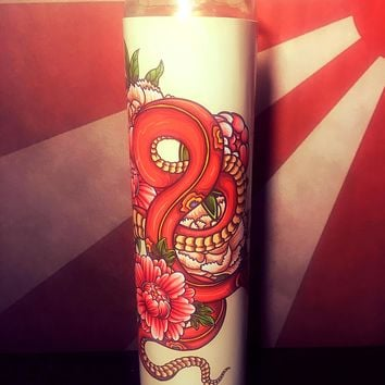 Japanese Art, Snake, Tattoo Art, Tattoo, Tattoo print, Tattoo decor, tattoo design, Gift Idea, Home Decor, Scented  Candle, Prayer Candle,