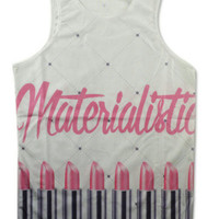 Materialistic lipstick women's tank top from Kno Idea Vintage & Custom