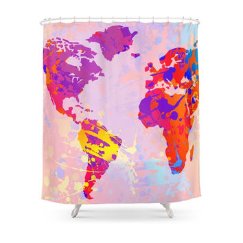 Society6 What A Colorful World Map Shower Curtain