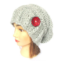 Slouchy beanie hat light gray slouch hats irish handknit beanies knitted chunky hat women gift for her with red button accessory grey wool