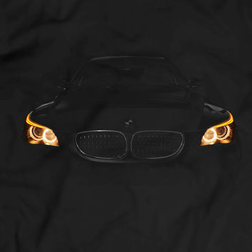 BMW E60 530 T-Shirt Women Men Gift Idea Headlights Glow Tuning Black T Shirt Garment Apparel