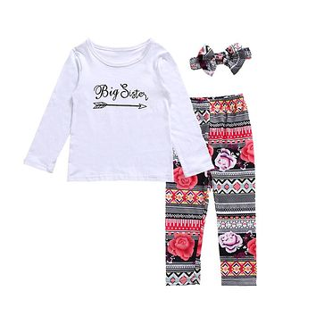 Family Matching Outfits Newborn Baby Little Sister Romper Big Sister T-shirt+Long Pants Clothes Outfits