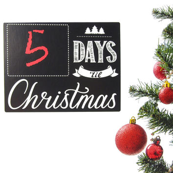Countdown To Christmas Day Chalkboard Wall Sticker, 8-Inch