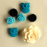 Tiny Magnetics Turqoise Aqua Black Cream Flower Magnet Set of 7 Magnets Pink home decor Refridgerator Mum Cabochon rose dorm locker