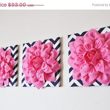 "MOTHERS DAY SALE Wall Decor -Set Of Three Pink Dahlias on Navy and White Chevron 12 x12"" Canvas Wall Art-"