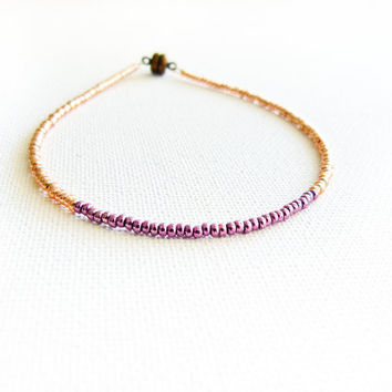 Valentines Day Metallic chic  seed beads beaded anklet Golden purple  thin ankle cuff bracelet. Foot jewelry,