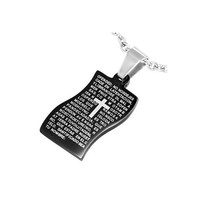 Black Stainless Steel 2tone The Lords Prayer Cross by UnisexySupplies