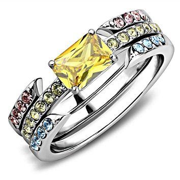 WildKlass Stainless Steel Ring High Polished (no Plating) Women AAA Grade CZ Topaz